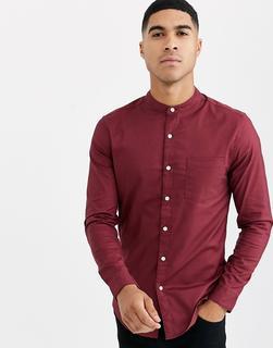 Topman - long sleeve oxford shirt with grandad collar in burgundy
