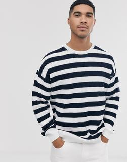 ASOS DESIGN - knitted ribbed jumper with black and white stripe