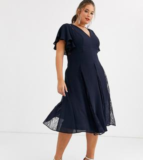 ASOS Curve - ASOS DESIGN Curve midi dress with lace godet panels