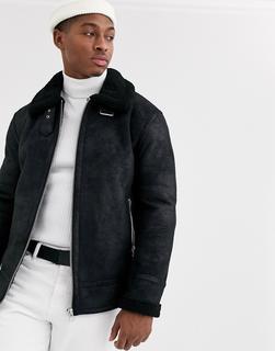 Topman - aviator jacket in black shearling