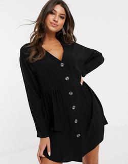 ASOS DESIGN - v neck button through mini smock dress with long sleeves