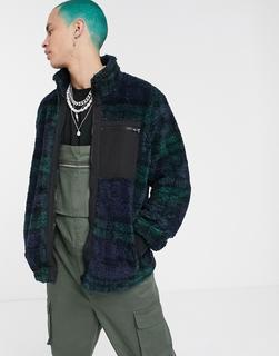 ASOS DESIGN - blue and green check borg jacket