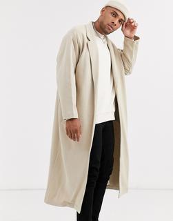ASOS DESIGN - oversized longline jersey duster jacket in beige