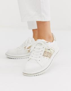 ASOS DESIGN - Dote chunky diamante trainers in white and champagne gold