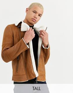 Burton Menswear - Big & Tall shearling jacket in brown