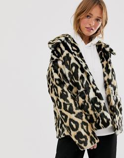 Monki - leopard print faux fur coat
