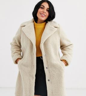 New Look Plus - New Look Curve borg coat in cream