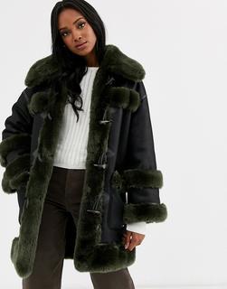 Urbancode - reversible faux fur duffle coat