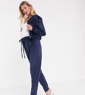 Fashionkilla Maternity - skinny drawstring velvet jogger in navy