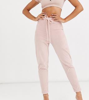 Fashionkilla - skinny drawstring velvet jogger in rose smoke