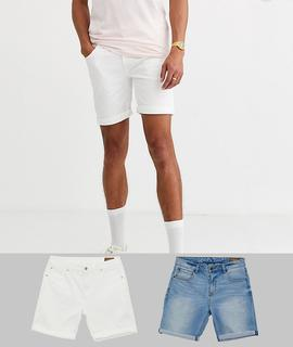 ASOS DESIGN - Tall denim shorts in skinny white & light wash with abrasions