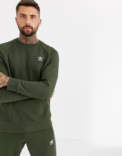 adidas Originals - essentials Sweatshirt with embroidered small logo in khaki