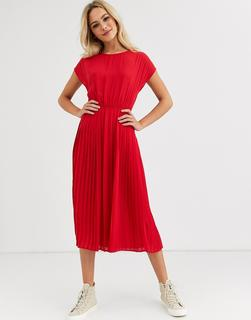 New Look - pleated midi dress in red