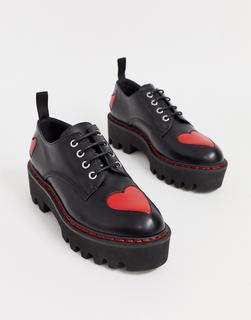 Lamoda - black chunky lace up shoes with hearts