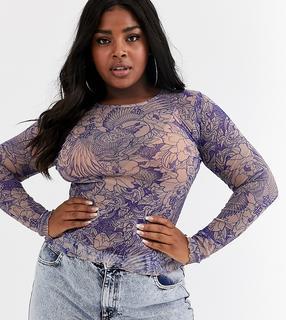 New Girl Order Curve - long sleeve top in crinkle mesh in romantic floral print