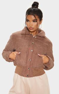 PrettyLittleThing - Chocolate Peach Skin Puffer Jacket, Chocolate