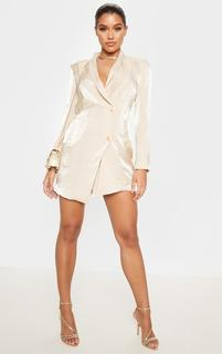 PrettyLittleThing - Champagne Pleated Shimmer Gold Button Blazer Dress, Yellow