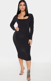 PrettyLittleThing - Shape Black Slinky Panelled Long Sleeve Midi Dress, Black