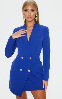 PrettyLittleThing - Blue Gold Button Blazer Dress, Blue