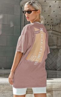 PrettyLittleThing - Taupe Slogan Washed T Shirt, Brown