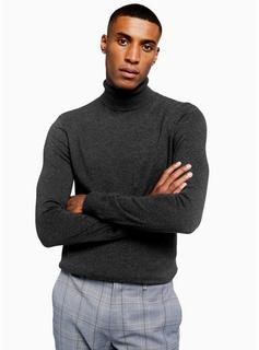 Topman - Mens Charcoal Grey Marl Roll Neck Knitted Jumper, Grey