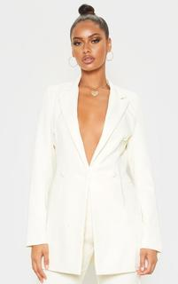 PrettyLittleThing - Cream Double Breasted Woven Blazer, White