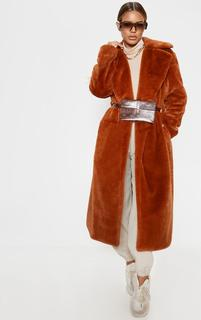 PrettyLittleThing - Petite Brown Belted Faux Fur Coat, Brown