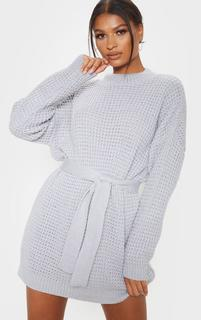 PrettyLittleThing - Light Grey Soft Touch Belted Knitted Jumper Dress, Grey