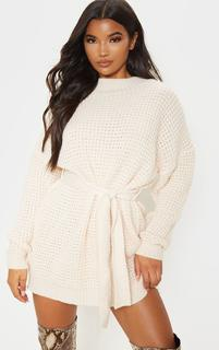 PrettyLittleThing - Cream Soft Touch Belted Knitted Jumper Dress, White