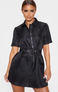 PrettyLittleThing - Petite Black Zip Detail Belted Utility Dress, Black