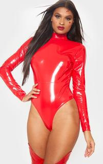 PrettyLittleThing - Red Vinyl High Neck Bodysuit, Red