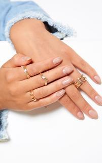 PrettyLittleThing - Gold Roman Multi Shape Five Set Ring Pack, Yellow