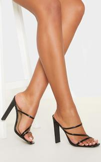 PrettyLittleThing - Black Wide Fit Square Toe Flat Heel Strappy Mule, Black