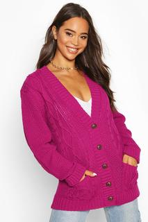 boohoo - Womens Cable Boyfriend Button Up Cardigan - pink - M/L, Pink