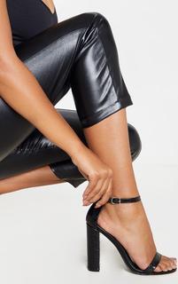 PrettyLittleThing - Black Croc May Block Heel Sandal, Black