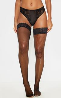 PrettyLittleThing - Black Lace Top Fishnet Hold Up Stockings, Black