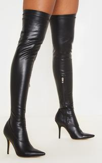 PrettyLittleThing - Black PU Thigh High Sock Boot, Black