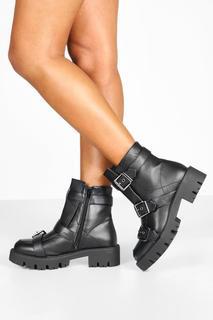 boohoo - Womens Boots Mit Schnalle Und Profilsohle - Schwarz - 37, Schwarz