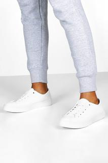 boohoo - Womens Basic Canvas Lace Up Pumps - white - 3, White