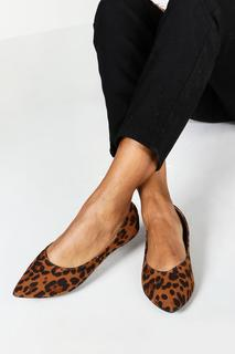 boohoo - Womens Spitz Zulaufende Ballerinas In Weiter Passform In Leoparden-Optik - 37, Leopard