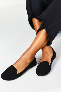 boohoo - Womens Wide Fit Tab Top Slipper Ballets - Black - 3, Black