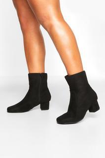 boohoo - Womens Wide Fit Low Block Heel Shoe Boots - Black - 7, Black