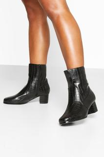 boohoo - Womens Wide Fit Low Block Heel Shoe Boots - Black - 4, Black