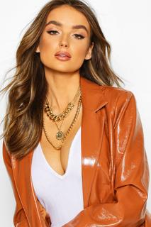 boohoo - Womens Layered Choker & Pendant Necklace - Metallics - One Size, Metallics