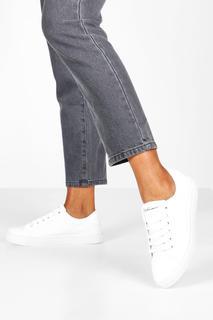 boohoo - Womens Schlichte Flache Sneaker Zum Schnüren - Weiß - 36, Weiß