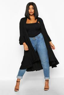 boohoo - Womens Plus Ruffle Hem Midi Kimono - black - 16, Black