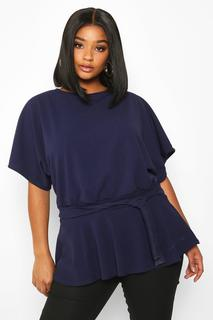 boohoo - Womens Plus Slash Neck Tie Waist Peplum Hem Top - navy - 28, Navy