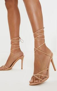 PrettyLittleThing - Nude Point Toe Thong Strappy High Heel Sandal, Pink