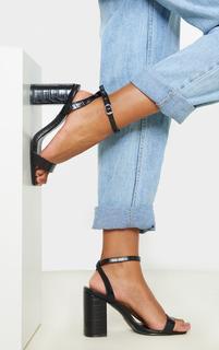 PrettyLittleThing - Black Croc Wide Fit Chunky Block Heel Strappy Sandal, Black