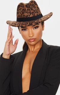 PrettyLittleThing - Leopard Fedora Hat, Animal